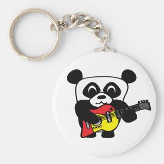 Panda del muchacho con la guitarra eléctrica llavero personalizado