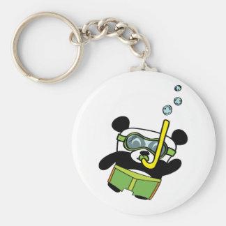 Panda del muchacho en el traje de baño Snorkling Llavero
