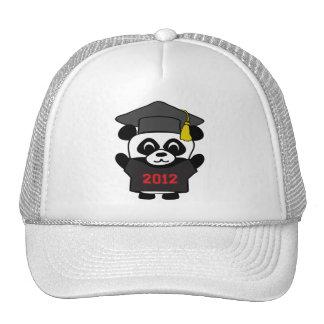 Panda del muchacho graduado negro y del rojo 2012 gorros bordados