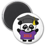 Panda del muchacho graduado púrpura y del naranja  imán para frigorifico