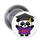 Panda del muchacho graduado púrpura y del naranja  pins