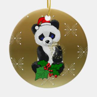Panda del navidad adorno redondo de cerámica