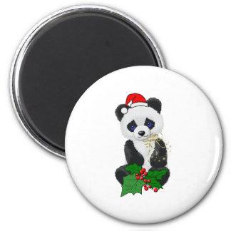Panda del navidad imán redondo 5 cm