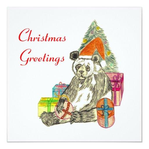 """Panda del navidad invitación 5.25"""" x 5.25"""""""