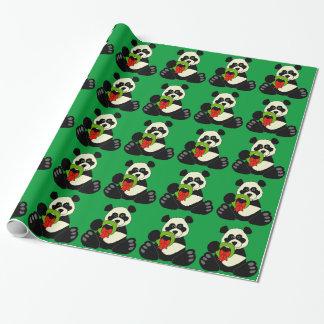 Panda del navidad papel de regalo