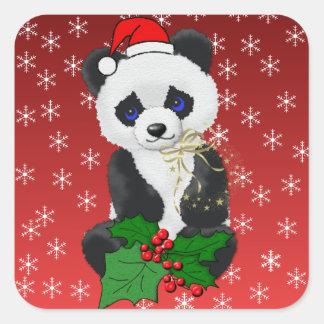 Panda del navidad pegatina cuadrada