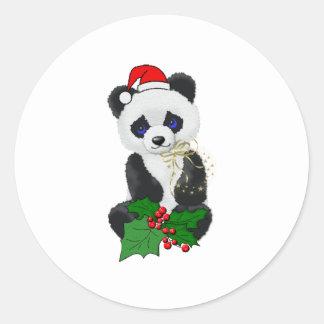 Panda del navidad pegatina redonda
