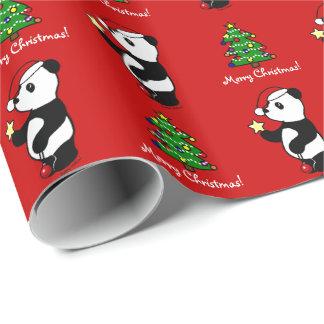 Panda del navidad que almacena rojo papel de regalo