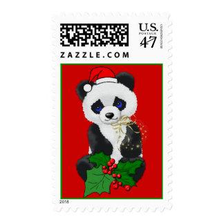 Panda del navidad sello postal