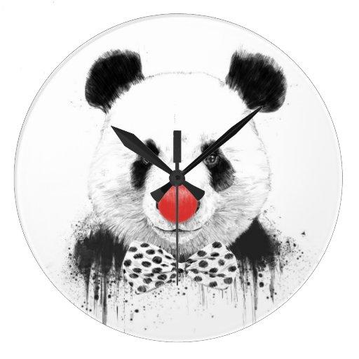 Panda del payaso reloj redondo grande