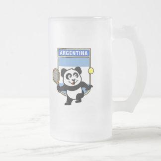Panda del tenis de la Argentina Taza De Cristal