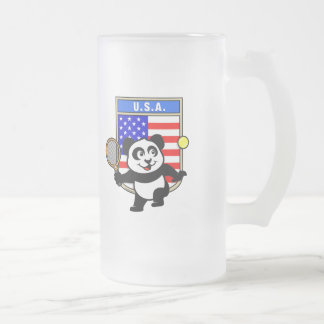Panda del tenis de los E.E.U.U. Jarra De Cerveza Esmerilada