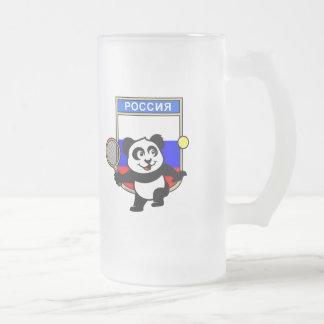 Panda del tenis de Rusia Taza De Cristal