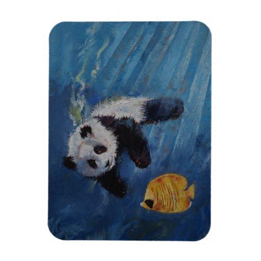 Panda Diver Rectangular Photo Magnet