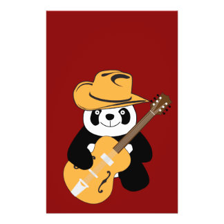 "Panda divertida con la guitarra folleto 5.5"" x 8.5"""