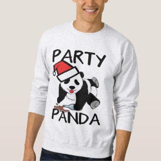 Panda divertida del fiesta de Navidad Sudadera