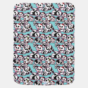 Panda Doodles Kawaii Stroller Blanket