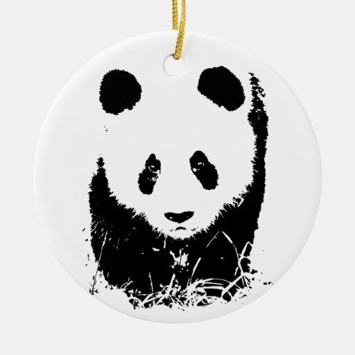 Panda Double-Sided Ceramic Round Christmas Ornament