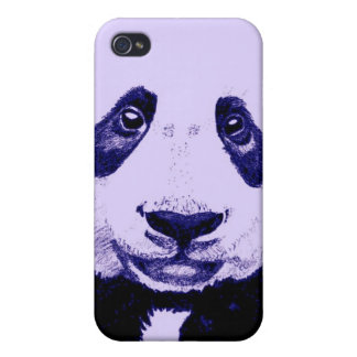 Panda drawing (light purple) iPhone 4/4S cases