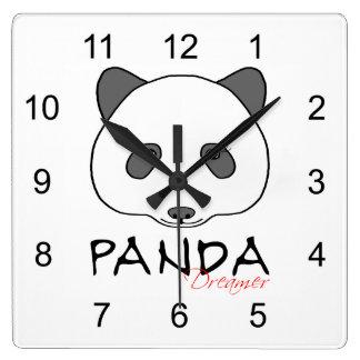 Panda Dreamer Square Wall Clock