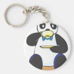 Panda Drinking Coffee Basic Round Button Keychain