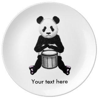 Panda Drumming Porcelain Plate