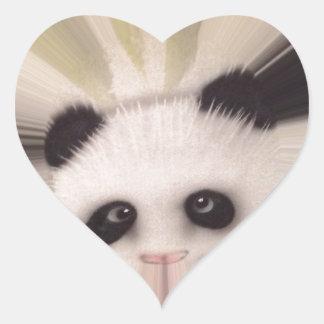 Panda dulce pegatina en forma de corazón