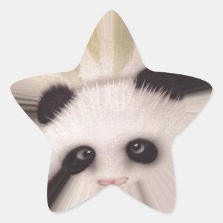 Panda dulce pegatina en forma de estrella