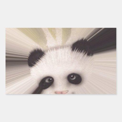 Panda dulce pegatina rectangular