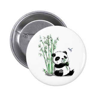 Panda Eating Bamboo 2 Inch Round Button