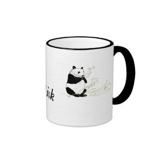 Panda Eating Bamboo, add name Ringer Coffee Mug