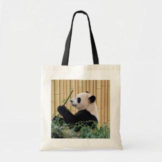 Panda Eating Bamboo Canvas Bags