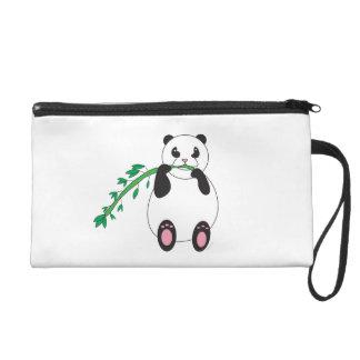 Panda Eating Bamboo Bagettes Bag Wristlet Purses