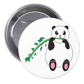 Panda Eating Bamboo Button
