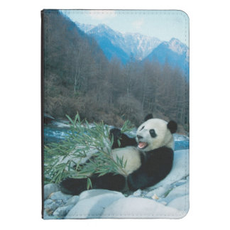 Panda eating bamboo by river bank, Wolong, 2 Kindle Touch Case
