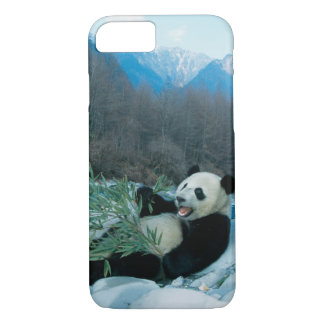 Panda eating bamboo by river bank, Wolong, 2 iPhone 8/7 Case