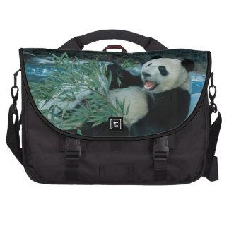Panda eating bamboo by river bank, Wolong, 2 Computer Bag