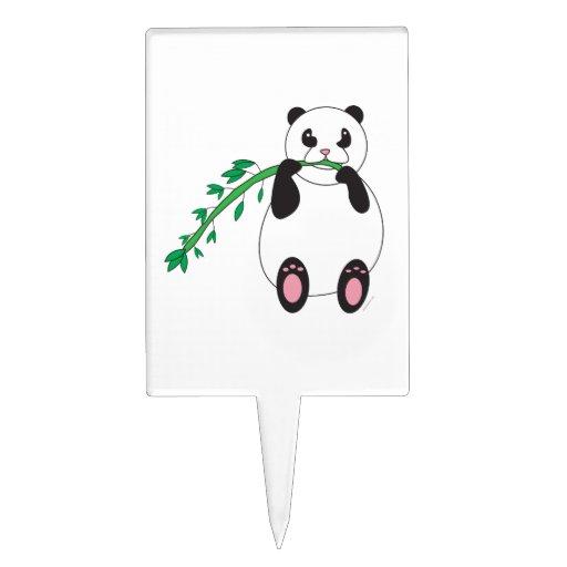 Panda Eating Bamboo Cake Pick