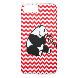 Panda Eating Bamboo Fire Engine Red Chevron iPhone 8 Plus/7 Plus Case