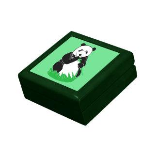 Panda Eating Bamboo Green Keepsake Box