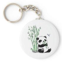 Panda Eating Bamboo Keychain