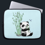"Panda Eating Bamboo Laptop Sleeve<br><div class=""desc"">Keep this panda if you like cute,  cuddly,  pandas nom nom nom noming on a bamboo. This bamboo-eating creature will be a delight to anyone who laid their eyes on it. Comes with customizable background colors!</div>"