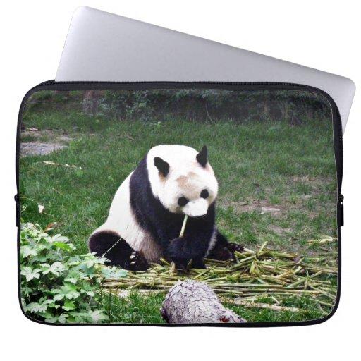 Panda eating Bamboo Computer Sleeves