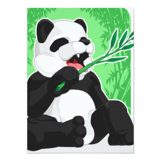 Panda Eating Bamboo Leaves 5.5x7.5 Paper Invitation Card
