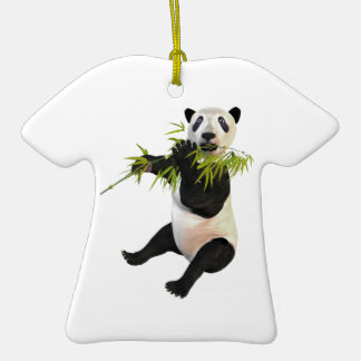 Panda Eating Bamboo Leaves Double-Sided T-Shirt Ceramic Christmas Ornament