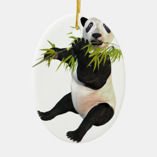 Panda Eating Bamboo Leaves Double-Sided Oval Ceramic Christmas Ornament