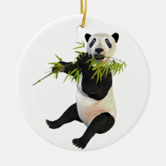 Panda Eating Bamboo Leaves Double-Sided Ceramic Round Christmas Ornament