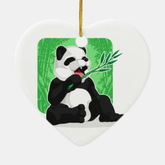 Panda Eating Bamboo Leaves Double-Sided Heart Ceramic Christmas Ornament