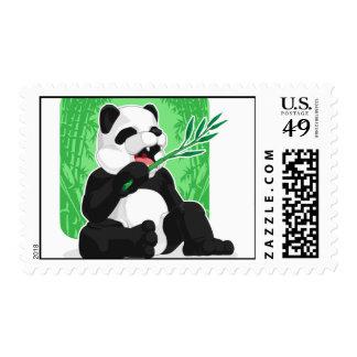 Panda Eating Bamboo Leaves Postage