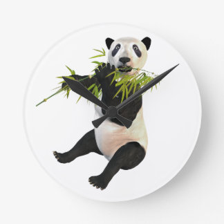 Panda Eating Bamboo Leaves Round Clock